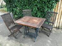 Refurbished sewing table and folding chairs