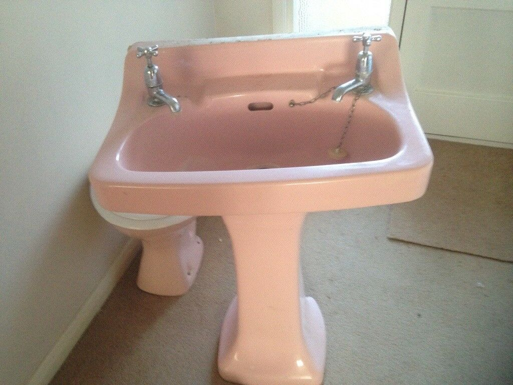Retro Pink Bathroom Sink And Toilet In Ascot Berkshire