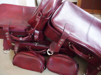 Vintage retro leather style travel suitcases & travel luggage holiday bags