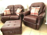 G plan 2 seater sofa and recliner chair and storage foot stool