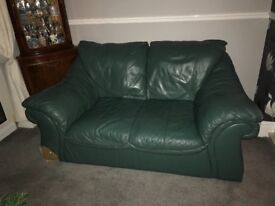 Green leather sofa will sell separate, 3 seater, 2 seater and armchair
