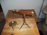 ANTIQUE WOODEN AND BRASS TELESCOPE WITH BRASS AJUSTABLE TRIPOD PLUS BRASS COMPASS PERFECT CONDITION