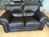 Brown Leather 2 Seater and 3 Seater Sofas for Sale.
