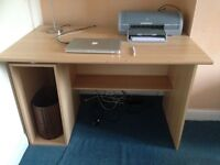 Desk - natural beech wood finish - for home or office