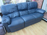 3 Seater Leather Recliner Sofa - Blue