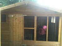 Nearly new dog kennel with small run