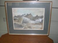 A framed and glazed original pastel drawing entitled'From The Beach -Ravenglass'