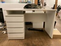 WHITE OFFICE DESK WITH DRAWS - 6 AVAILABLE