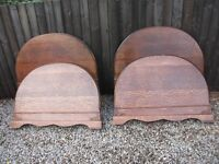 TWO MATCHING PAIRS OF ANTIQUE SOLID WOODEN BED HEADS AND FOOTBOARDS