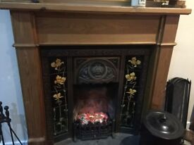 Open fire Victorian fireplace. 1200 L. 1200 mantle L, insert 900 w 930 L 16 inch fire opening .