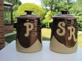 A Pair of Large Brown Ceramic Pottery Flour Jars with Lids.