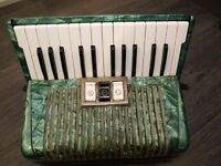 Honer Student V Accordion in plastic marbleized green casing c.1980's? In good working order