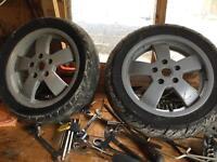 Vespa 125 gt wheels with one good Bridgestone tyre 12in