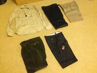 Various brand new men's trousers and shirt