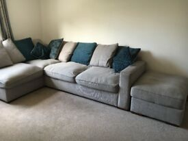 Dune Corner Pillow Back Fabric Sofa with Footstool