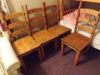 4 corona pine chairs solid