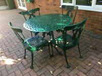 Cast Aluminium 5 Piece Garden Furniture Table Chairs Patio Set