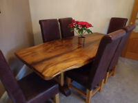 Unique bespoke Hardwood Dining table and 6 leather chairs