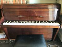 Piano, small modern Zender piano with stool.