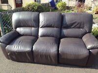 FREE ****3 Seater brown leather reclining couch