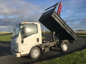 2008 isuzu grafter 3.0 diesel tipper with hiab 1 OWNER 83K FULL MOT NO VAT