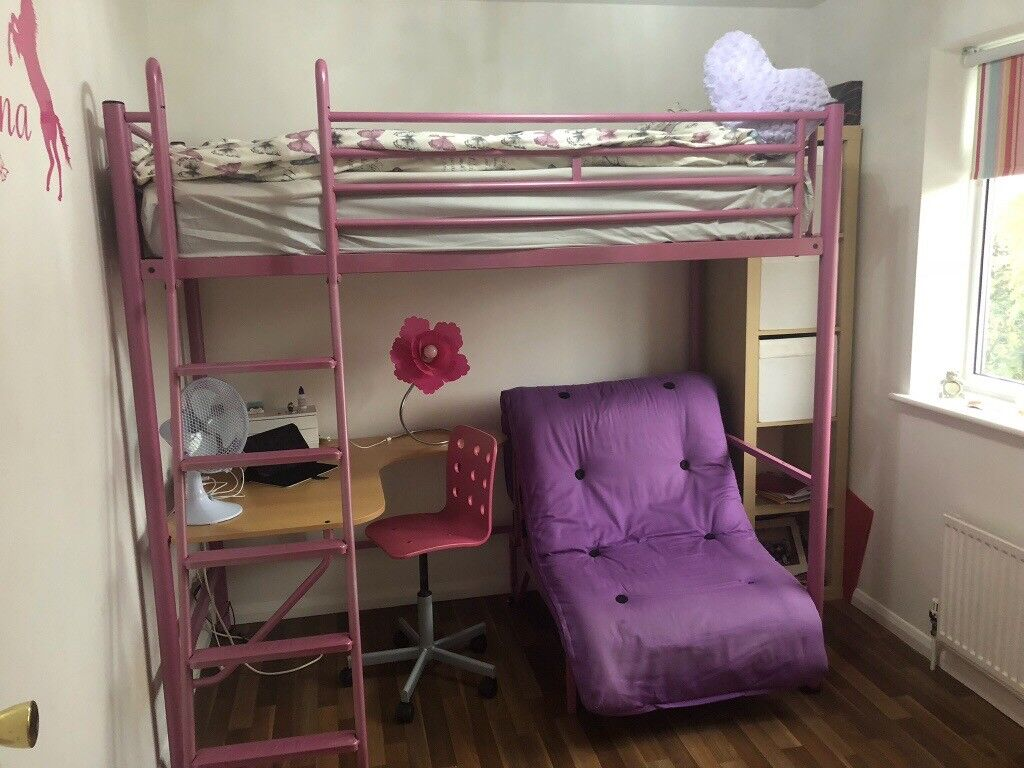 Jay Be High Sleeper Bed With Integral Desk And Futon