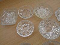 Cut glass dishes x 12