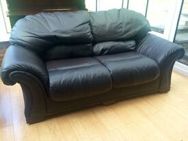 DFS Dark Brown / Chocolate Leather Sofa Bed