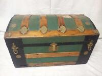 Antique 19th Century Ornate Tin and Wood Dome Top Trunk