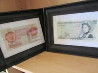 4 OLD BANKNOTES IN FRAMES, TWO 1 POUND, 1 FIVE POUND, 1, 10 SHILLNG
