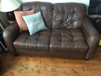 2 x Brown leather two seater sofa DFS