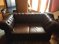 Chesterfield Style, Brown Leather 2 seater Sofa