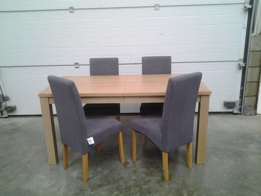 Ex Display Extendable Dining Table And 4 Grey Fabric Chairs Bargain Can Deliver