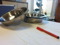 Stainless steel round serving dish
