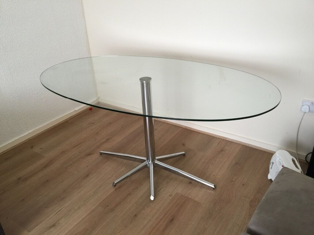 Large Sturdy Glass Dining Table