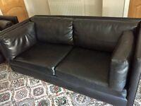 Black Leather Contemporary Sofas x 2