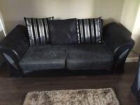 Black/Silver/Grey 3+2 Seater Sofas