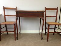 Antique Tea/Side Table and 2 chairs