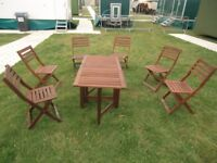 2 tables, 1 bench 6 chairs garden furniture, good condition,