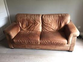 Sofa and 2 arm chairs - brown leather