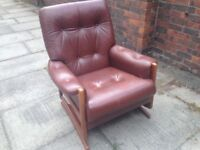 Real Leather Reclining Chair Retro Vintage Made by Cintique Ercol Style Very Comfortable Armchair