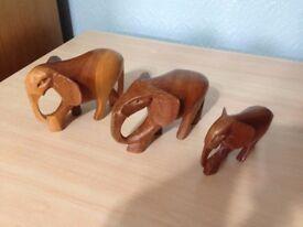 Vintage Wooden Carved Elephant Ornaments