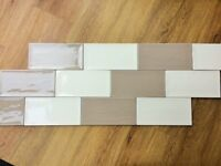 Kitchen tiles Cream / Beige 10x20cm to cover 2 Sq mtrs approx. (Artisan Vison and Artisan Huesco)