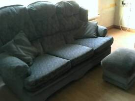 Sofa, footstool and 2 armchairs.