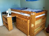 Stompa Wooden Cabin bed with desk and drawers