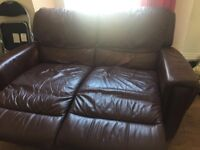 Brown leather reclining two seater sofa