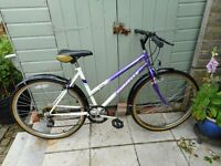 ladies white and purple 18 inch frame bike with lock