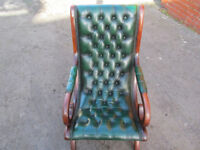 GREEN LEATHER CHESTERFIELD SLIPPER CHAIR