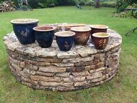 2 Sets ceramic garden pots