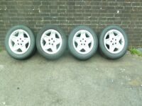 LANDROVER DISCOVERY2 Td5 MONDIAL ALLOY WHEELS + TYRES (also fit P38 Rangerover) X 4 wheels.